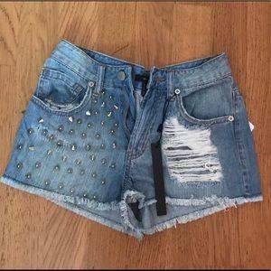 NWT Denim Studded Shorts